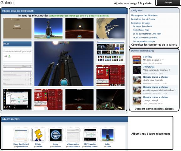 Capture d'écran de l'accueil de la galerie