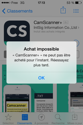 Ecran Achat Impossible iPhone