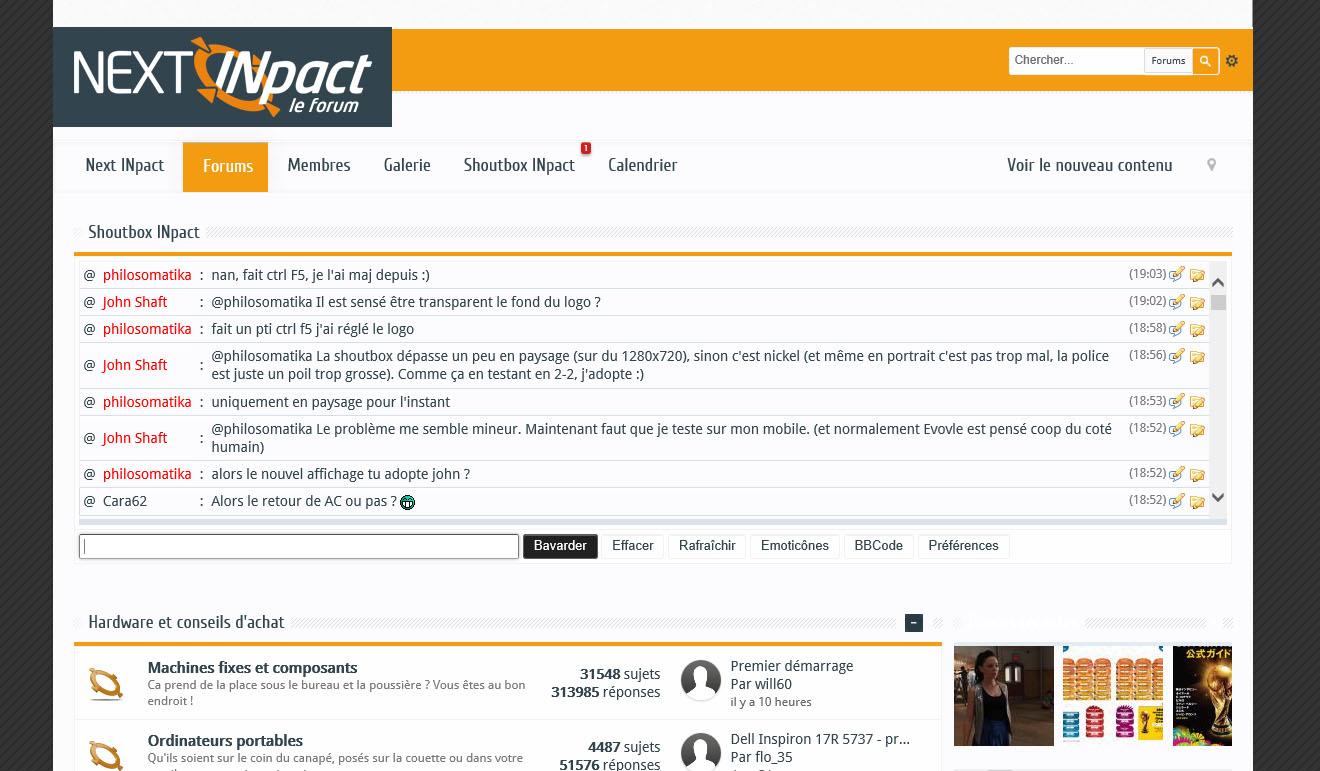 Capture d'écran du forum pour tests