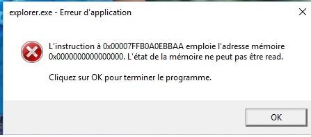 erreur 0x00007FFB0A0EBBAA explorer mémoire read