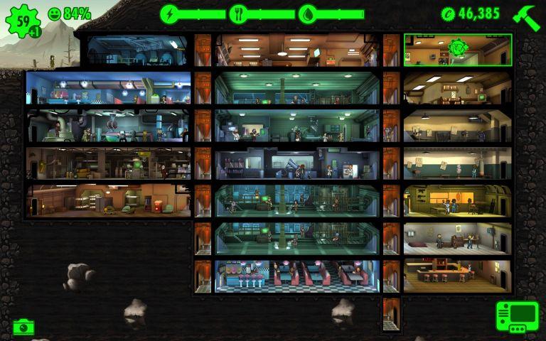 Fallout Shelter abri 434 avec 59 habitants